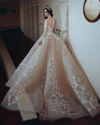 Robe de soirée princesse longue luxueuse avec fleurs épaules nues | robe de soirée cérémonie chic_2