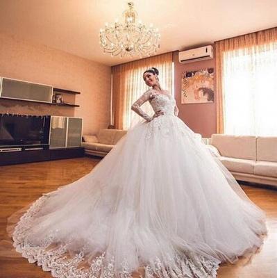 Forme Marquise Traîne cathédrale Tulle Robes de mariée 2021 avec Appliques_4