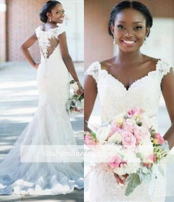 Robe de mariée sirène dentelle élégante | Robe de mariage trompette col en V_2