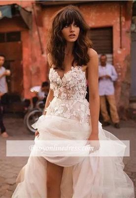 Robe Féerique de Fleurs Forme Princesse Col en V Tulle Traîne Longue Robes de Mariée dentelle avec Appliques_3