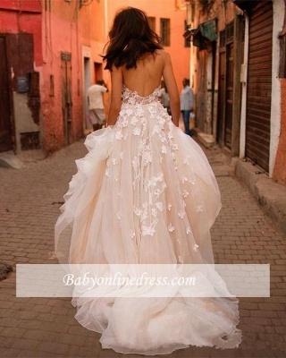 Robe Féerique de Fleurs Forme Princesse Col en V Tulle Traîne Longue Robes de Mariée dentelle avec Appliques_2