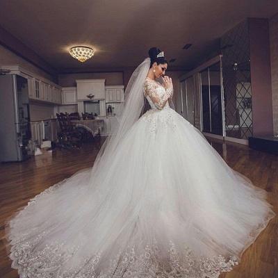 Forme Marquise Traîne cathédrale Tulle Robes de mariée 2021 avec Appliques_3