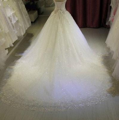Robe de mariée princesse tulle longue avec cristaux | robe de mariage chic_4