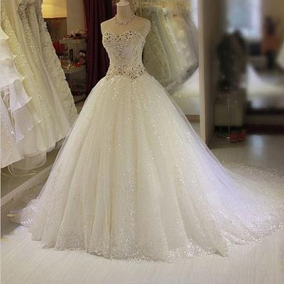 Robe de mariée princesse tulle longue avec cristaux | robe de mariage chic_3