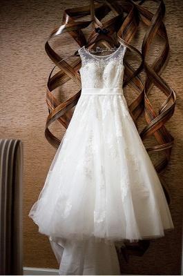 Forme Princesse Traîne moyenne Col U profond Dentelle Nouveau Robes de mariée A-ligne avec Perle_4