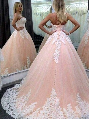 Forme princesse robe de cérémonie bustier avec dentelle délicat traîne chapelle_1