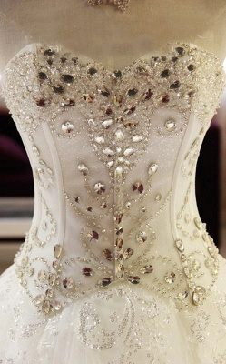 Robe de mariée princesse tulle longue avec cristaux | robe de mariage chic_5