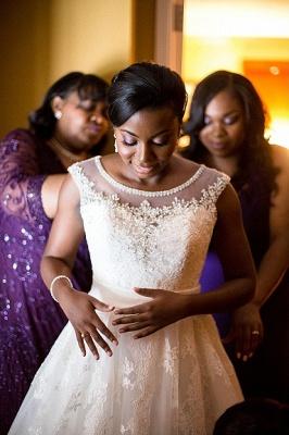 Forme Princesse Traîne moyenne Col U profond Dentelle Nouveau Robes de mariée A-ligne avec Perle_2