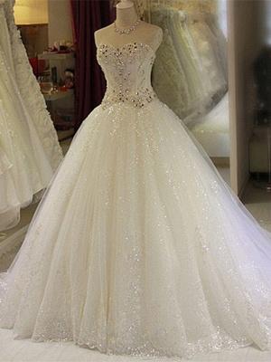 Robe de mariée princesse tulle longue avec cristaux | robe de mariage chic_2