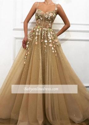 Robe de bal princesse florale chic | Robe de soirée princesse bretelles fines_2