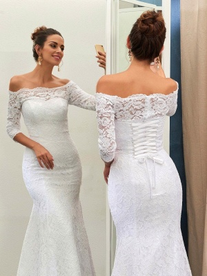 Forme Fourreau alayage/Pinceau train Epaules nues Robes de mariée 2021 avec Dentelle_2