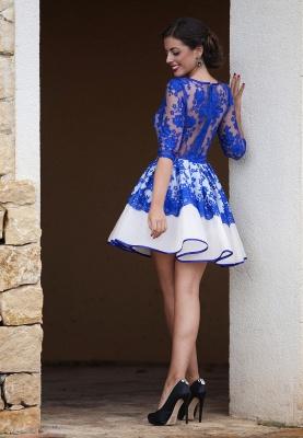 Fomre princess robe de soirée courte dentellle transparent manche mi-longue_2