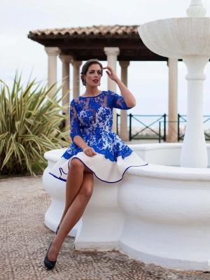 Fomre princess robe de soirée courte dentellle transparent manche mi-longue_3