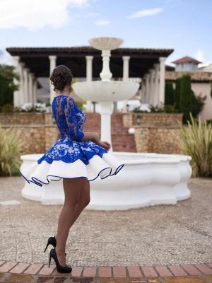Fomre princess robe de soirée courte dentellle transparent manche mi-longue_4