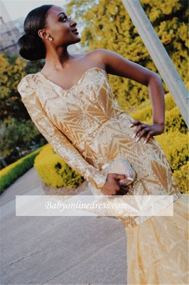 Robe de soirée sirène épaules asymétriques | Robe de cérémonie trompette chic_3