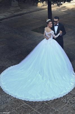 Forme princesse robe de mariée en dentelle délicat manche longue transparent col bateau traîne cathédrale_2