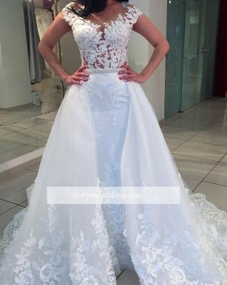 Forme Princesse alayage/Pinceau Traîne Détachée Col Bateau Robes de mariée A-ligne avec Dentelle_3
