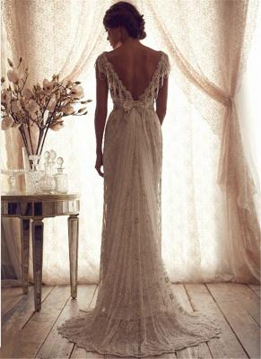 Forme Fourreau Col en V Satin alayage/Pinceau train Robes de mariée avec Dentelle_2