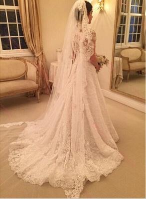 Forme Princesse alayage/Pinceau train Tulle Robes de mariée A-ligne avec Dentelle_4