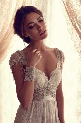 Forme Fourreau Col en V Satin alayage/Pinceau train Robes de mariée avec Dentelle_3