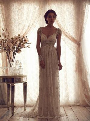 Forme Fourreau Col en V Satin alayage/Pinceau train Robes de mariée avec Dentelle_1