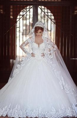 Forme princesse robe de mariée en dentelle délicat manche longue transparent col bateau traîne cathédrale_1