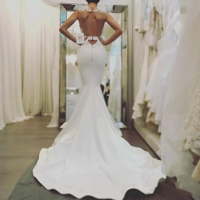 Robe de mariée sirène dentelle col bateau dos nu | Robe de mariage trompette longue élégante_3