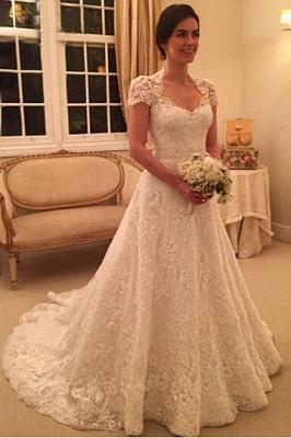 Forme Princesse alayage/Pinceau train Tulle Robes de mariée A-ligne avec Dentelle_1