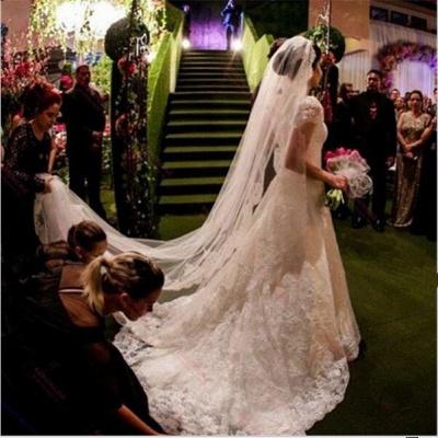 Forme Princesse alayage/Pinceau train Tulle Robes de mariée A-ligne avec Dentelle_3
