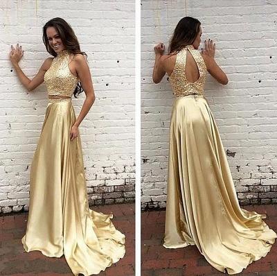 Robe de soirée d'or robe biling deux pièces tendance pailleté en haute longueur sol_3