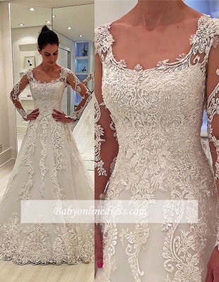 Robe de mariée A-ligne dentelle élégante   Robe de mariage manches longues_2
