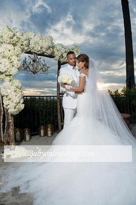 Forme Sirène/Trompette Traîne mi-longue Epaules nues Tulle Robes de mariée 2021 avec Appliques_3