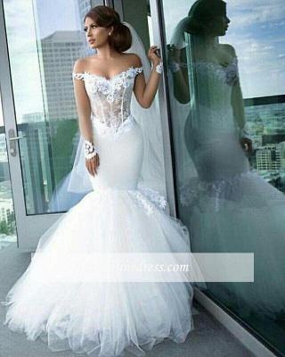Forme Sirène/Trompette Traîne mi-longue Epaules nues Tulle Robes de mariée 2021 avec Appliques_4