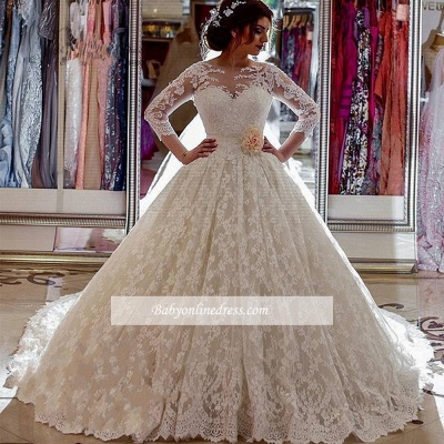Robe de mariée princesse dentelle luxueuse | Robe de mariage princesse manches longues_1