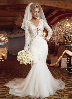 Forme Sirène/Trompette Traîne moyenne Col en V Dentelle Robes de mariée 2021 avec Dentelle_1