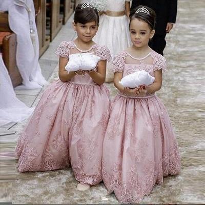 Forme Princesse Col Rond Manches Courtes Robe de Fillette Dentelle_2