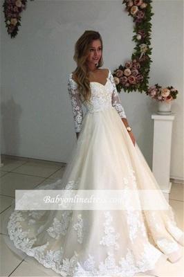 Forme Princesse Longueur ras du sol Col en cœur Dentelle robe de mariée_1