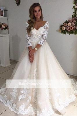 Forme Princesse Longueur ras du sol Col en cœur Dentelle robe de mariée_3