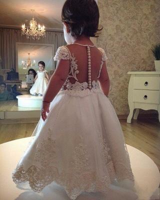 Forme Princesse Longueur cheville Col U profond Robes de demoiselle d'honneur - fillette avec Perles_2