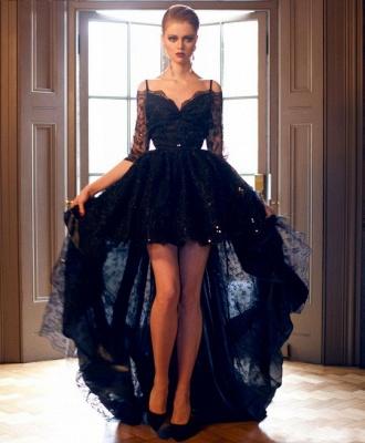 Forme Princesse Bretelles spaghetti Dentelle Traîne asymétrique Robes de soirée avec Ruches_1