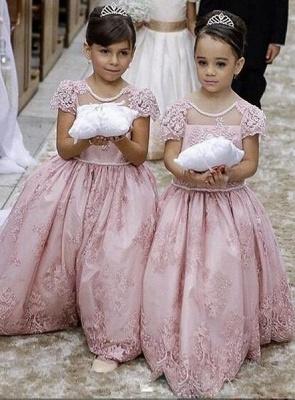 Forme Princesse Col Rond Manches Courtes Robe de Fillette Dentelle_1