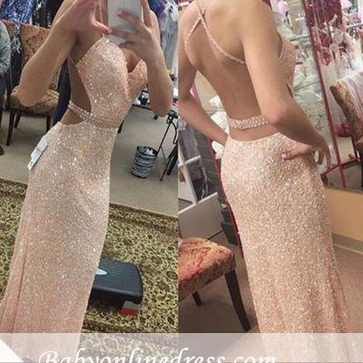 Forme fourreau robe de soirée pailleté brillant bretelle fine ceinture en perle longueur sol_1