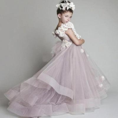 Forme Princesse Tulle Traîne moyenne Robes de demoiselle d'honneur - fillette avec Fleurs_3