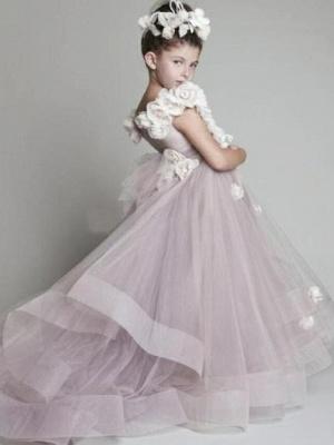 Forme Princesse Tulle Traîne moyenne Robes de demoiselle d'honneur - fillette avec Fleurs_1