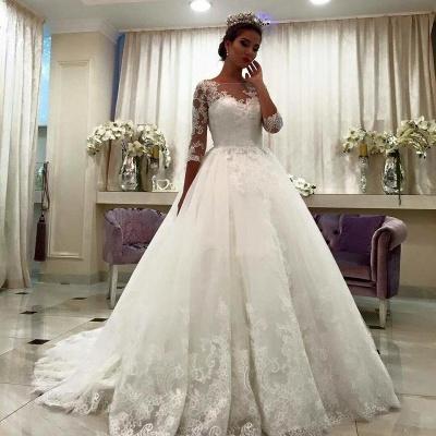 Forme Marquise Traîne mi-longue Col bateau Tulle Robes de mariée robe de bal avec Dentelle_2