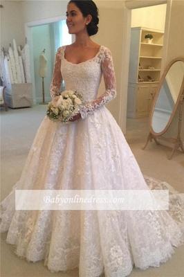 Robe de mariée princesse dentelle élégante | Robe de mariage princesse manches longues_2