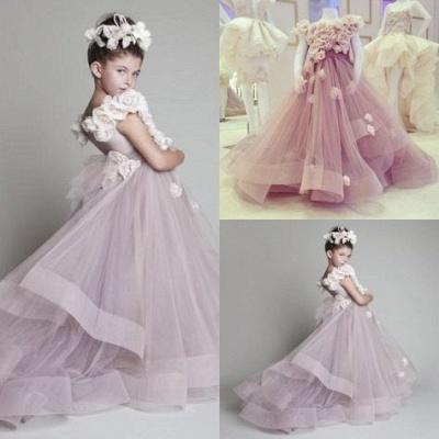 Forme Princesse Tulle Traîne moyenne Robes de demoiselle d'honneur - fillette avec Fleurs_2