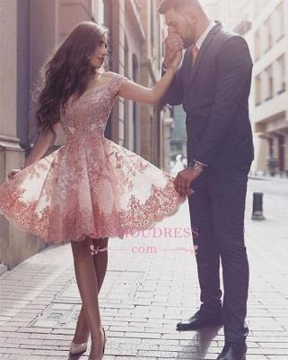 Forme princesse robe de cérémonie courte en dentelle exquis avec bretlle_1