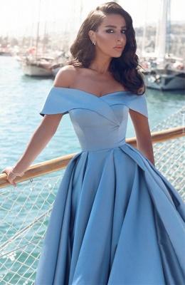 Forme Princesse Traîne moyenne Epaules nues Satin Robe de Soirée Longue Robe de Gala_3