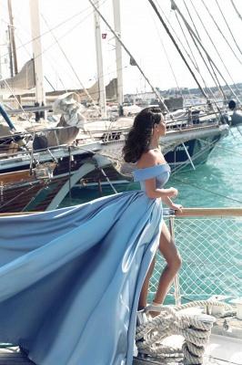 Forme Princesse Traîne moyenne Epaules nues Satin Robe de Soirée Longue Robe de Gala_4